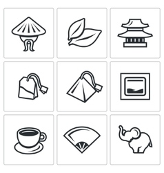 Set of tea icons china leaf temple vector