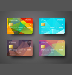 Set of templates of a credit debit bank card vector