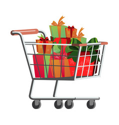 shopping cart with present box banner vector image