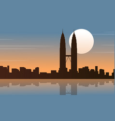 silhouette of malaysia city tour scenery vector image
