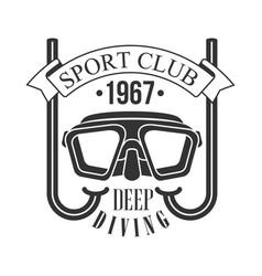 sport club deep diving 1967 vintage logo black vector image