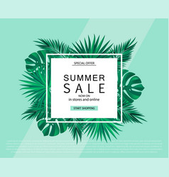 Summer sale banner poster with tropical plants vector