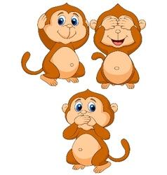 Three wise monkey cartoon vector