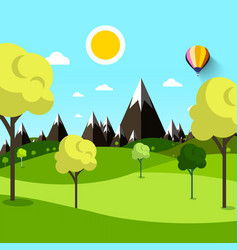 trees on meadow with mountains on background vector image