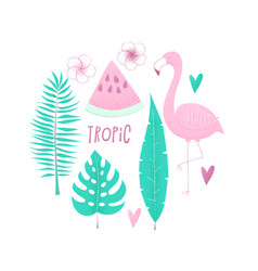 Tropical concept with flamingo vector