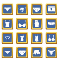 underwear items icons set blue vector image