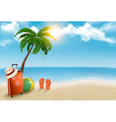 Vacation background beach with palm tree suitcase vector