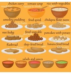 Vedic indian cuisine set of vegetarian healthy vector