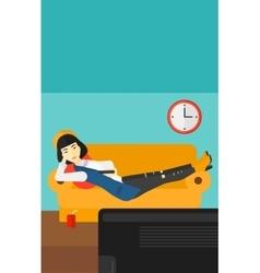 Woman lying on sofa vector
