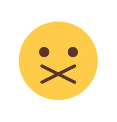 Yellow cartoon face silent shocked emoji people vector