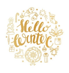 Hello winter handlettering with christmas elements vector