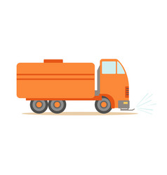Gas carrier orange truck  part of roadworks and vector