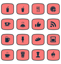Set of simple cafe icons vector