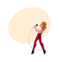 young pretty woman singing into microphone vector image