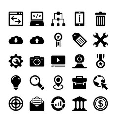 Seo and digital marketing glyph icons 6 vector