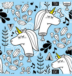 Endless background with heads of unicorn and vector