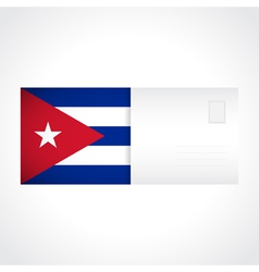 Envelope with cuban flag card vector
