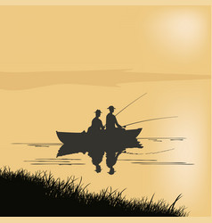 Two fishermen in a boat vector