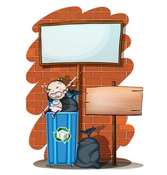 Two empty signboards near the trashcan with a baby vector image