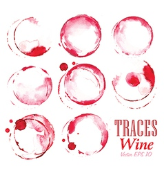 Set traces red wine marks vector