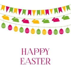 Easter greeting card with garlands vector