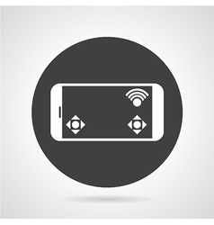 Phone controller black round icon vector