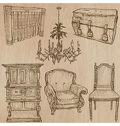Furniture - sketches line art vector