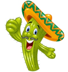 Happy cactus giving thumb up vector image