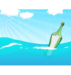 Bottle with help message vector