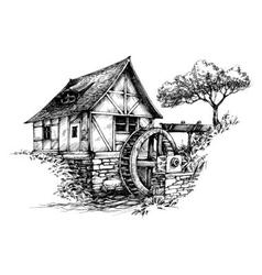Old water mill sketch vector image