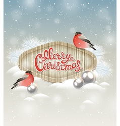 Christmas background with two bullfinch vector image