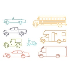 Line icon style transportation and automotive vector