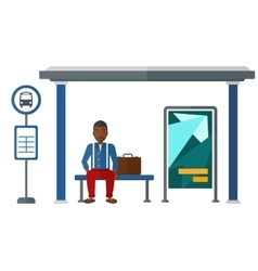 Man waiting for bus vector