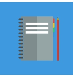 Notebook with a pencil flat style vector