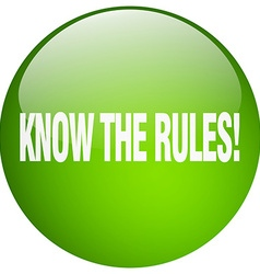 Know the rules green round gel isolated push vector
