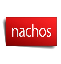 Nachos red square isolated paper sign on white vector