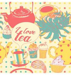 Tea-pot with flowers and pastries vector