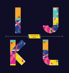 alphabet colorful geometric style in a set ijkl vector image