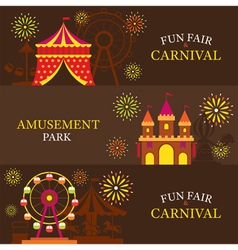 Amusement park carnival fun fair banner vector