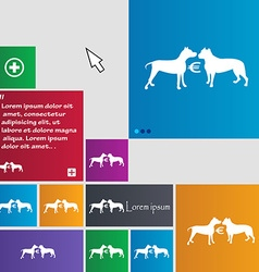 Betting on dog fighting icon sign buttons modern vector
