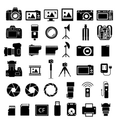 Camera accessories icons vector