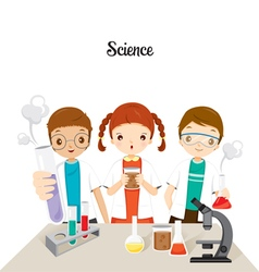 Children in science class experimenting vector