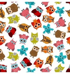 Colorful owls birds seamless pattern vector image