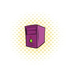 Computer system unit icon comics style vector