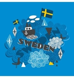 Cool pattern with swedish symbols vector image