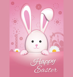 Cute easter bunny on a pink background happy vector