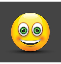Emoji smiling green eyes vector