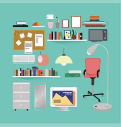 Flat room interior elements set vector