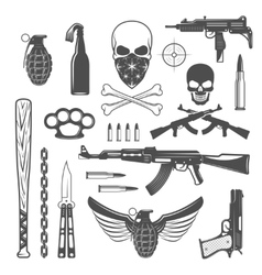 Gangster monochrome elements set vector