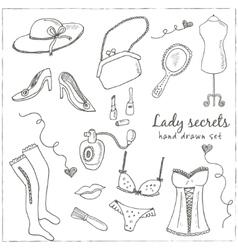 Hand drawn elegant vintage ladies set vector image